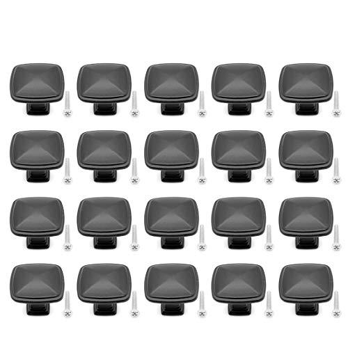 Yuhtech Nero Pomelli per Porta, 20 Pcs Maniglia per armadietto Pomolo per mobile, porta, armadio, cassetto e credenza