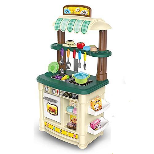 CaoQuanBaiHuoDian Kinder Bausteine Küche Pretend Play Toy Küche Herd Kinderkochrollenspiele Spielzeug Imagination Spiel Geschenk mit Ofen (Color : Green, Size : 85x30x47cm)