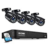 ZOSI H.265+1080p Home Security Camera System,8 Channel 5MP Lite Surveillance DVR with Hard Drive 1TB and 4 x 1080p Weatherproof CCTV Bullet Camera Outdoor Indoor with 80ft Night Vision, Motion Alerts