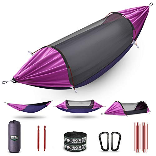 ETROL Hammock, Upgrade Double & Single Camping Hammock with Mosquito Net, Tree Straps, Carabiners, Aluminium Poles, 3 in 1 Function Portable Hammock for Outdoor Hiking Patio Travel—Purple