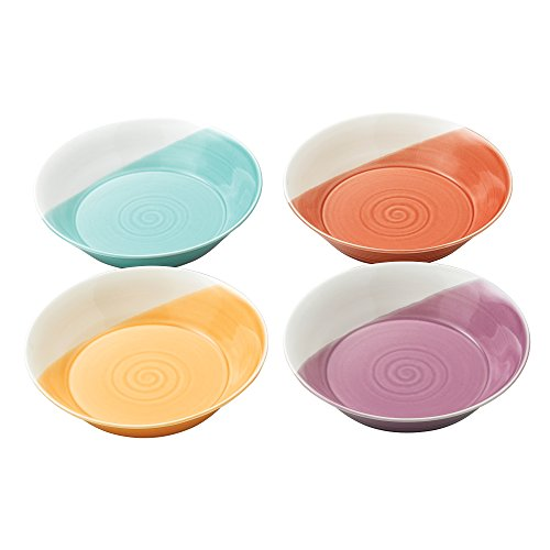 "Royal Doulton 1815TW26726 Bright Colors Mixed Patterns Pasta Bowls (Set of 4), 9.1"", Multicolor"