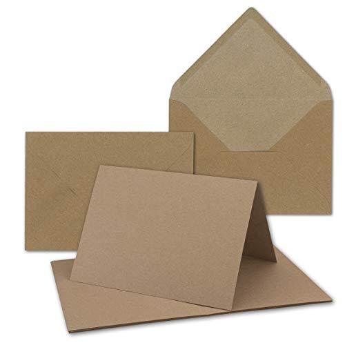 """25x sehr schweres Vintage Kraftpapier Falt-Karten SET mit Umschlägen DIN B6-120 x 169 mm - 350 g/m² - Klapp-Karten I UmWelt by GUSTAV NEUSER®\"""""""