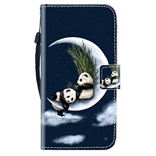 Sunrive Kompatibel mit ALCATEL PIXI 4 5'' 3G Hülle,Magnetisch Schaltfläche Ledertasche Schutzhülle Etui Leder Hülle Handyhülle Tasche Schalen Lederhülle MEHRWEG(Mond Panda B1)