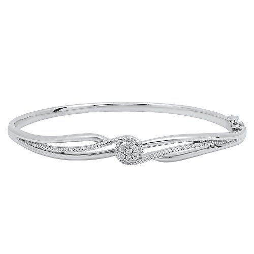 Dazzlingrock Collection 0.04 Carat (ctw) Round Cut White Diamond Ladies Twisted Bangle Bracelet, Sterling Silver (0.04 Ct Diamond Fashion)
