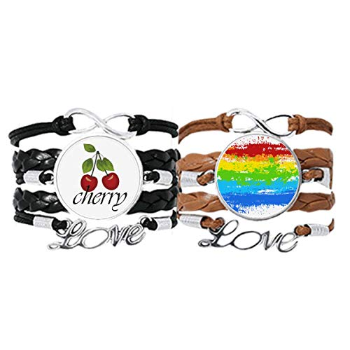 Bestchong Stippling Rainbow Gay Lesbian LGBT Bracelet Hand Strap Leather Rope Cherry Love Wristband Double Set