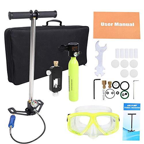 Keenso Tauchausrüstung Set, Komplettes Tauchset Sauerstoffflasche Hochdruckluftpumpe Tauchflaschen-Nachfülladapter-Set Tauchen Atmen Unterwasserzubehör