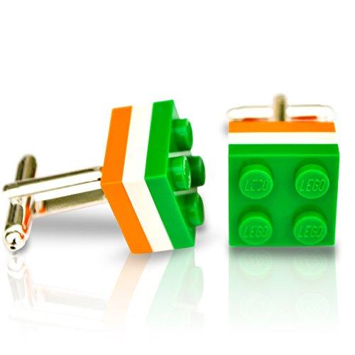 LEGO® Teller Manschettenknöpfe (grün, weiß und orange) Hochzeit, Groom, Herren Geschenk