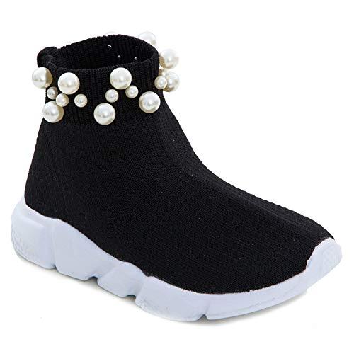 Toocool - Scarpe Bimba Bambina calzino Perle Sport Tessuto Elastico Sneakers Sportive 963B [36,Nero]