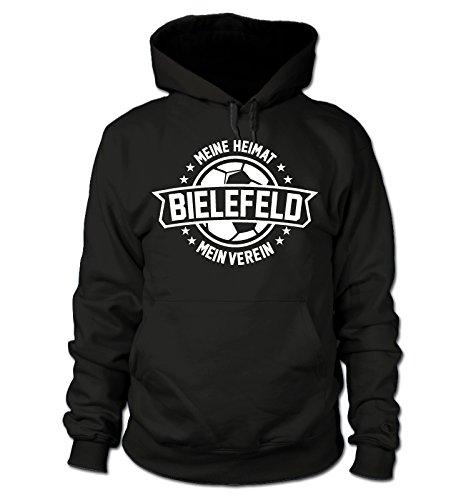 shirtloge - Bielefeld - Meine Heimat, Mein Verein - Fan Kapuzenpullover - Schwarz - Größe XL