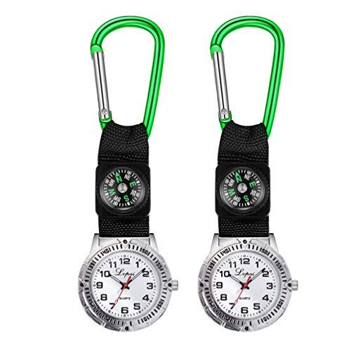 LIOOBO 2 stücke Clip on Uhren tragbare kompass Uhr multifunktionale Sport kompass Uhren Rucksack anhänger Outdoor wandern Klettern liefert (grün blau)