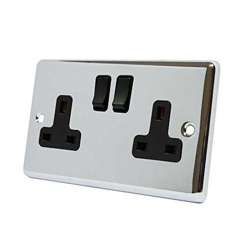 Stopcontact met 2 aansluitingen, gepolijst chroom, klassiek, ingezette zwarte kunststof schakelaar, dubbel 13A wandstopcontact