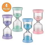 Reloj de Arena Niños Lavar Dientes, Temporizador de Huevos, Aula de Juegos Para Niños, Oficina En Casa, Reloj de Cocina 4 Colores 5/10/15/30 minutos (4 piezas)