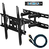 """Cheetah Mounts APDAM3B Dual Articulating Arm TV Wall Mount Bracket for 20-65"""" TVs up to VESA 400 and 115lbs Only, Mounts on Studs up to 16"""" Only and includes a Twisted Veins 10' HDMI Cable and a 6"""" 3-"""