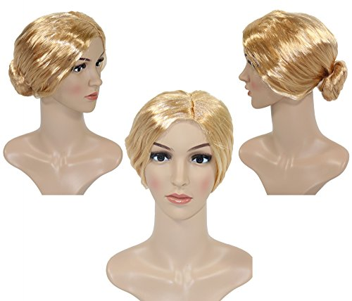 Foxxeo Blonde Dutt Perücke für Damen Karneval Fasching Party blond Lehrerin Oma streng