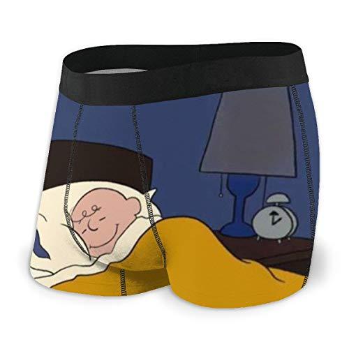 Cartoon Anime Snoopy Herren-Unterwäsche, Stretch-Boxershorts für Herren, kurze Bein-Unterhose, atmungsaktiv, bequeme Faser Gr. XXL, Schwarz
