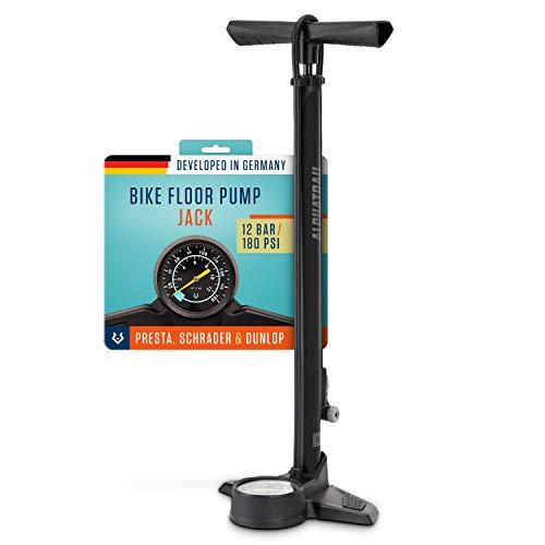 Alphatrail Pompa di pavimento Jack - Per tutte le valvole I 12,5 Bar / 180 PSI pressione massima I manometro extra large (Ø80mm) I pompa bicicletta per la valvola presta, schrader & dunlop