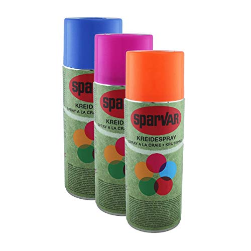 SparVar Kreidespray mit Überkopfdüse SET aus je 1x ORANGE, PINK und HELLBLAU, je 400 ml