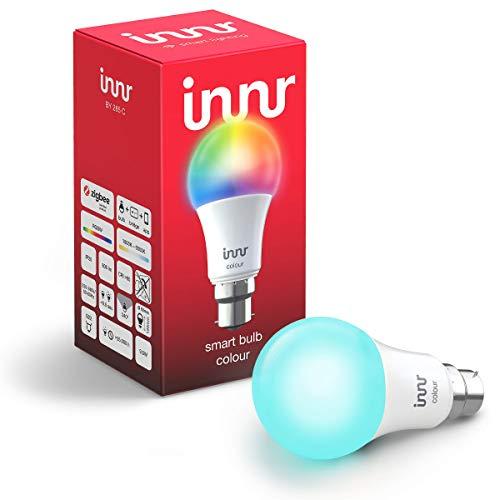 Innr B22 ampoule LED connectée couleur, compatible avec Philips Hue* & Alexa (hub connecté requis) RGBW, Bayonet, BY 285 C