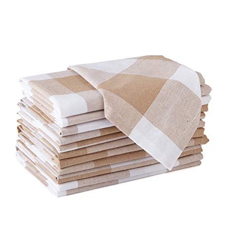 Encasa Homes Dining Table Napkins 12 pcs Set of Large 43 x 43 cm (17 x 17 inch) - Contrôles Buffalo Beige - Tissu de fête Absorbant en Coton épais Lavable en Machine pour Le Banquet du Restaurant