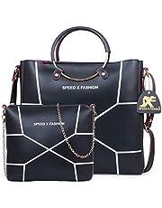 Speed X Fashion Women's Handbag With Sling Bag (Set of 2) (LWH00STY_Black)
