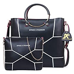 Speed X Fashion Womens Handbags And Shoulder Bag Combo (Black)
