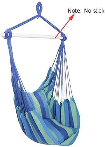 DX Hamaca Swing Silla con soporte para colgar silla mecedora con 2 cojines para interior y exterior jardín (color: azul 190 x 100 cm)
