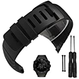Picowe Watch Band Strap, Rubber Watch Replacement Band Strap Accessories Compatible with SUUNTO CORE All Black SS014993000/SS013336000/SS013337000