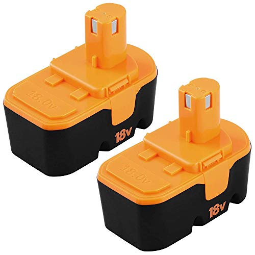 P100 3.6Ah Replacement for Ryobi 18V Battery Ni-Mh One+ Plus P100 P101 ABP1801 ABP1803 BPP1820 1322401 1400672 13022 1323303 130255004 130224007 130224028 130224054 Cordless Power Tools 2Pack