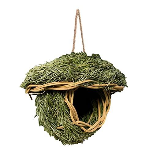 adfafw Casa di Colibrì in Erba Tessuta A Mano - Capanna per Uccelli Appesa all'Esterno Dell'erba...