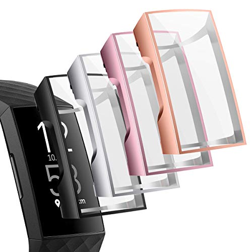 NANW 4-Pack Screen Protector Case Compatible with Fitbit Charge 4 / Charge 3, TPU Rugged Bumper Case Cover All-Around Protective Plated Bumper Shell Accessories for Charge 4 Smartwatch