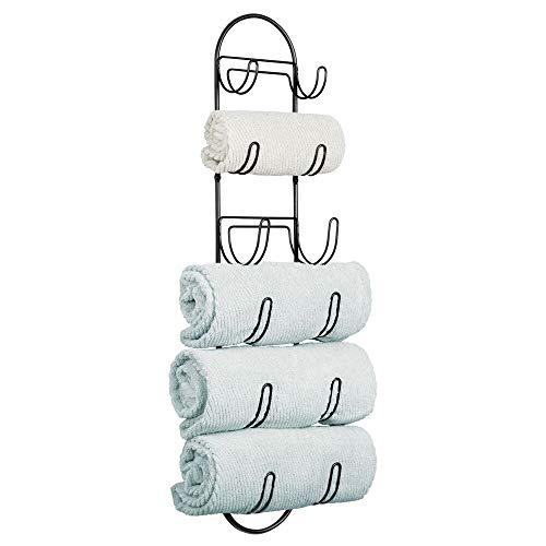 mDesign Toalleros de baño para montaje en pared – Estantes para toallas de metal – Elegante accesorio para el baño – Repisa para toallas ideal para el aseo de invitados – negro