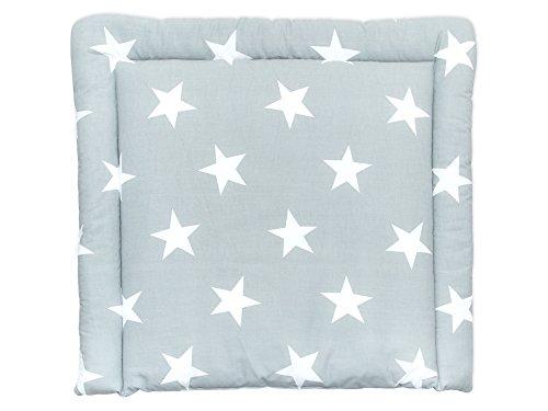 KraftKids Wickelauflage in große weiße Sterne auf Grau, Wickelunterlage 78x78 cm (BxT), Wickelkissen
