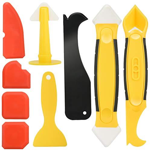 9 pezzi di utensili per calafataggio in silicone, con raschietto/estrattore di mastice/ugello strumento di smontaggio del sigillante in silicone per b