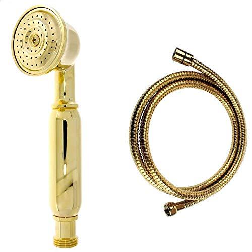 Retro Handbrause Brause Brausekopf Duschkopf aus Messing gold mit Brauseschlauch