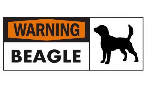 WARNING(Orange) BEAGLE ワイドマグネットサイン:ビーグル Sサイズ