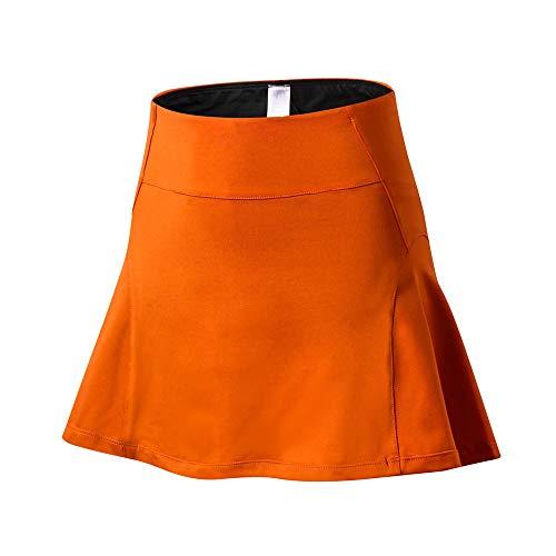 Damen Sportrock Atmungsaktiv Rock Mit Uv-Schutz Minirock Hockey Rock Wander Tennisrock Hohe Taille Sportrock E-Orange M