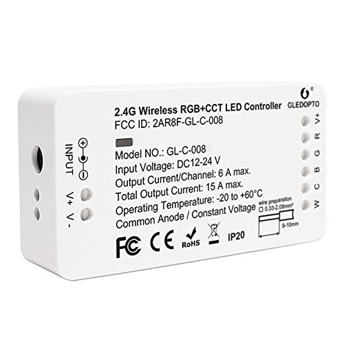 Zibgee Controller Smart LED Controller 2ID RGBCCT LED Controller DC12-24V Home Smart Zigbee RGBW WW Dimmable LED Strip Controller Compatible with HUebrige ONLY