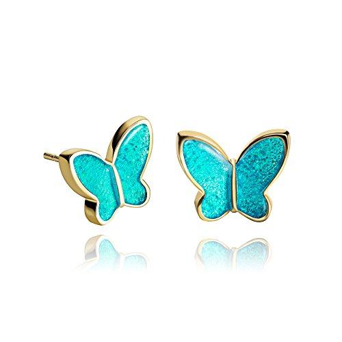 Orecchini a Bottone a Forma di Farfalla Piccola color Blu Acqua Scintillante Per Una Figlia