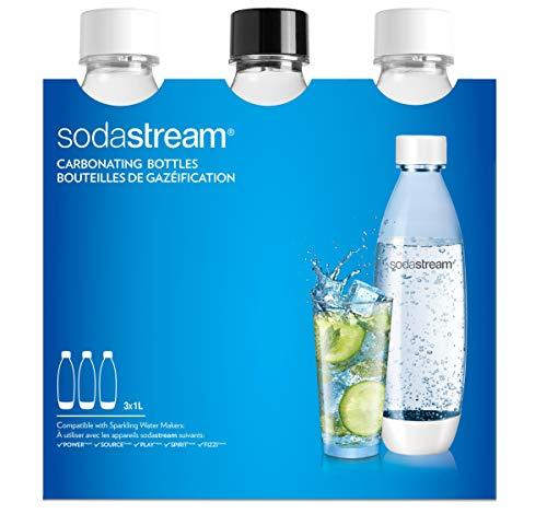 SodaStream 3 Bottiglie per gasatore d'acqua, Capienza 1 litro, Modello Fuse, Compatibili con modelli Gasatore Source, Play, Power, Spirit, Fizzi