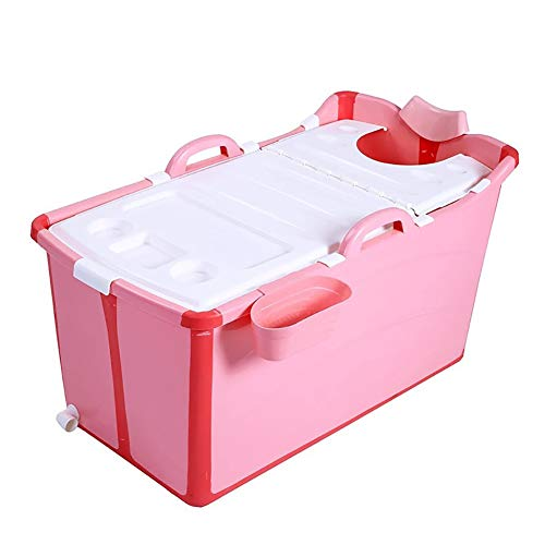 LYzpf Bathtub Bagno Bambini Grande Pieghevole Sicuro Vaschetta Portatile Camera Risparmiare Spazio Bagnetto Vasca per Kids di 0-15 Anni,Pink