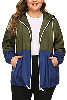 In'voland Women's Plus Size Rain Jacket Lightweight Hooded Waterproof Active Outdoor Rain Coat