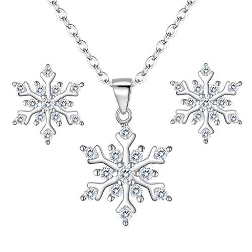Clearine Schneeflocke Schmuckset 925 Sterling Silber Cubic Zirconia Schneeflocken Anhänger Halskette und Ohrringe Schmuck Set Klar