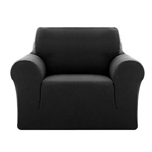 Deconovo Sofabezug Sofa Überzug SofaüberwurfSofa Cover Sesselbezug Sofahusse Sofa Abdeckung Super Elastisch Stretch Jacquard 80-120 cm Schwarz 1-Sitzer