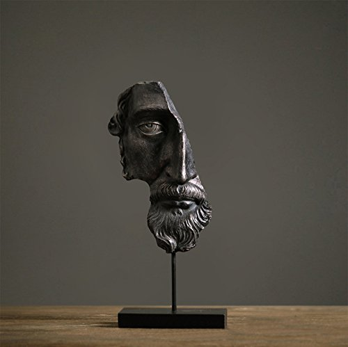 Home-organizer Tech Art Half Face The Wise Beard Gift and Furnishing Article Statue Abstract Sculpture (Black)
