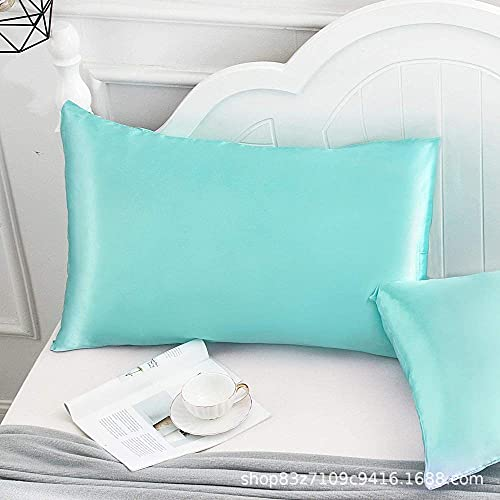 AIKJ Funda de almohada de seda en ambos lados con cremallera oculta para el cabello y la piel de seda, funda de almohada de seda, 2 unidades, color azul