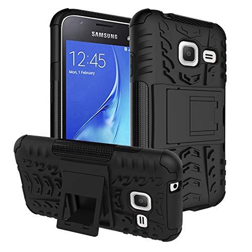 pinlu® Funda para Samsung Galaxy J1 Mini (4 Pulgada) Smartphone Doble Capa Híbrida Armadura Silicona TPU + PC Armor Heavy Duty Case Duradero Protección Neumáticos Patrón Negro