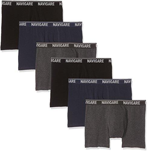 Navigare Herren 573/E (Pacco da 6) Boxershorts, Mehrfarbig (Grau/Schwarz/Navi), XL (6er Pack)