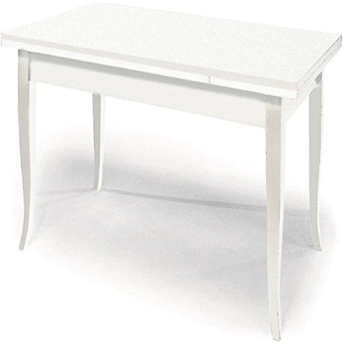 Table avec 2 rallonges DE 50 cm, Style Classique, en Bois Massif et MDF - Mes. 180x90+100% Made in Italy