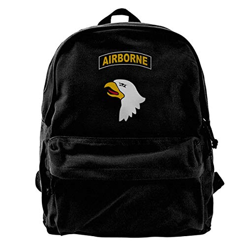 NJIASGFUI Rucksack aus Segeltuch mit US-Bundeswehr 101st Airborne Logo Rucksack fürs Fitnessstudio, Wandern, Laptop, Schultertasche für Männer und Frauen