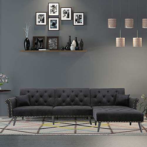 """Knowlife Mid-Century Convertible Futon Sofa Bed Sectional Sleeper Sofa with Reversible Chaise and 2 Pillows, 115""""L Sofa Couch for Living Room and Small Space - Black"""